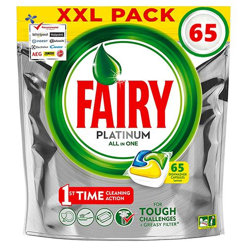 Капсулы для посудомойки Fairy Platinum All in One 65 шт