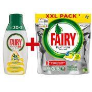 Капсулы и гель для посудомойки Fairy Platinum All in One 97 циклов