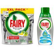 Капсулы и гель для посудомойки Fairy Platinum All in One 95 циклов