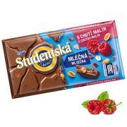 Шоколад молочный с малиной и арахисом Studentska Pecet 180 г